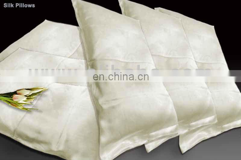 elegant luxury 100% charmeuse silk white woven pillowcase without edge