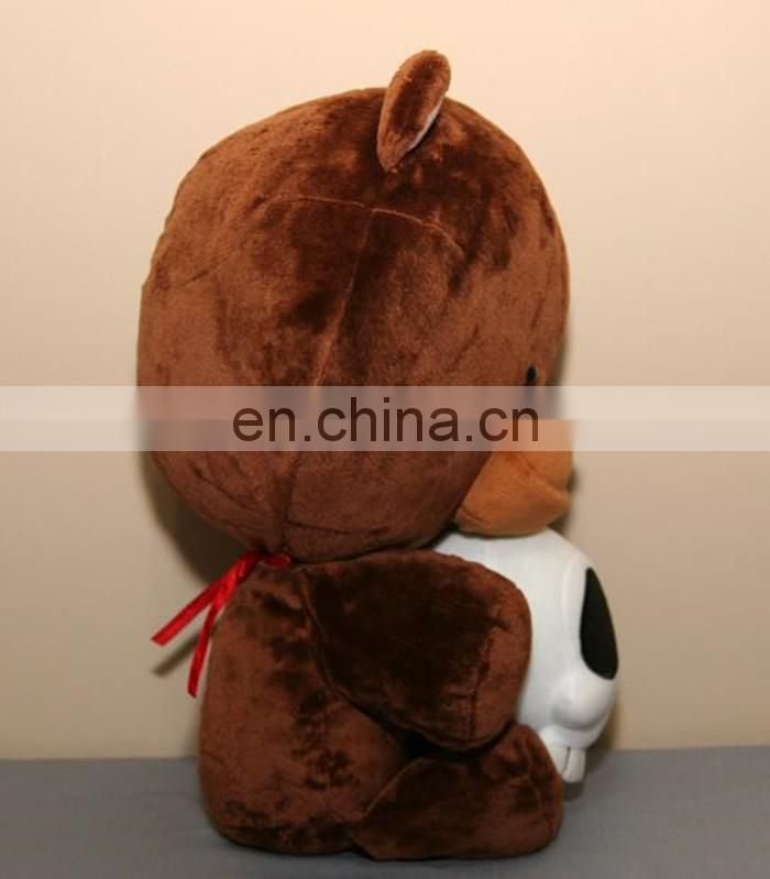 naughty brown zombies bear skull standing plush toy best Halloween gift