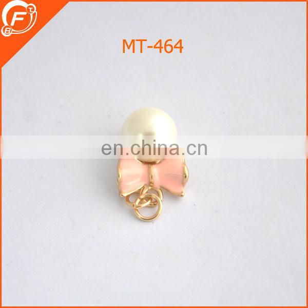 fashion pearl with enamel bowknot shape trims for garment