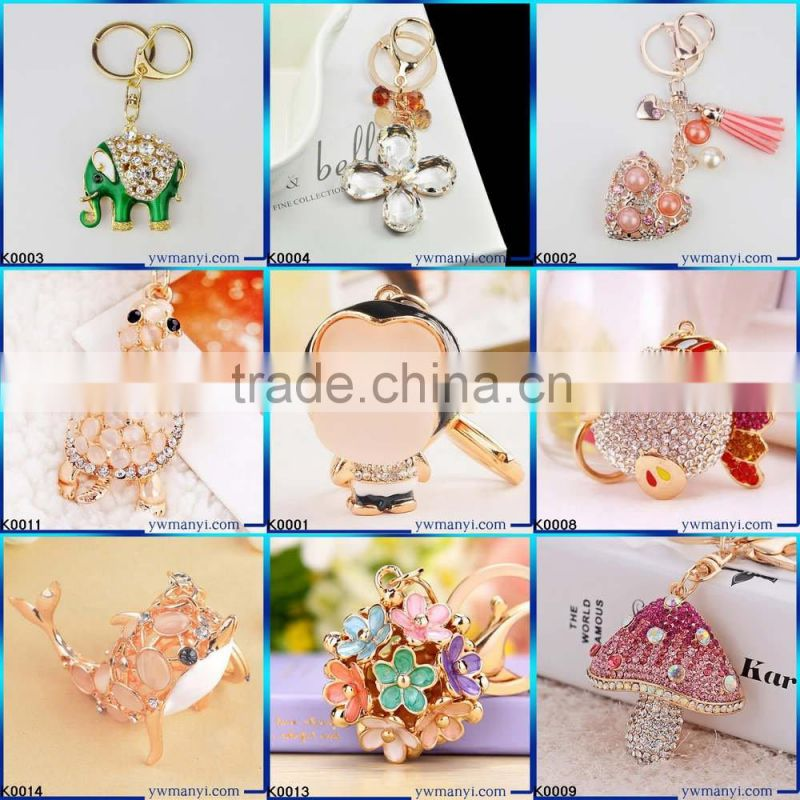Wholesale Creative lovely cherry keychain metal keychain Gemstone Keychain K0127