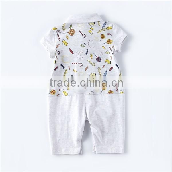 New arrival baby toddler clothing custom print baby unisex polo babygrow