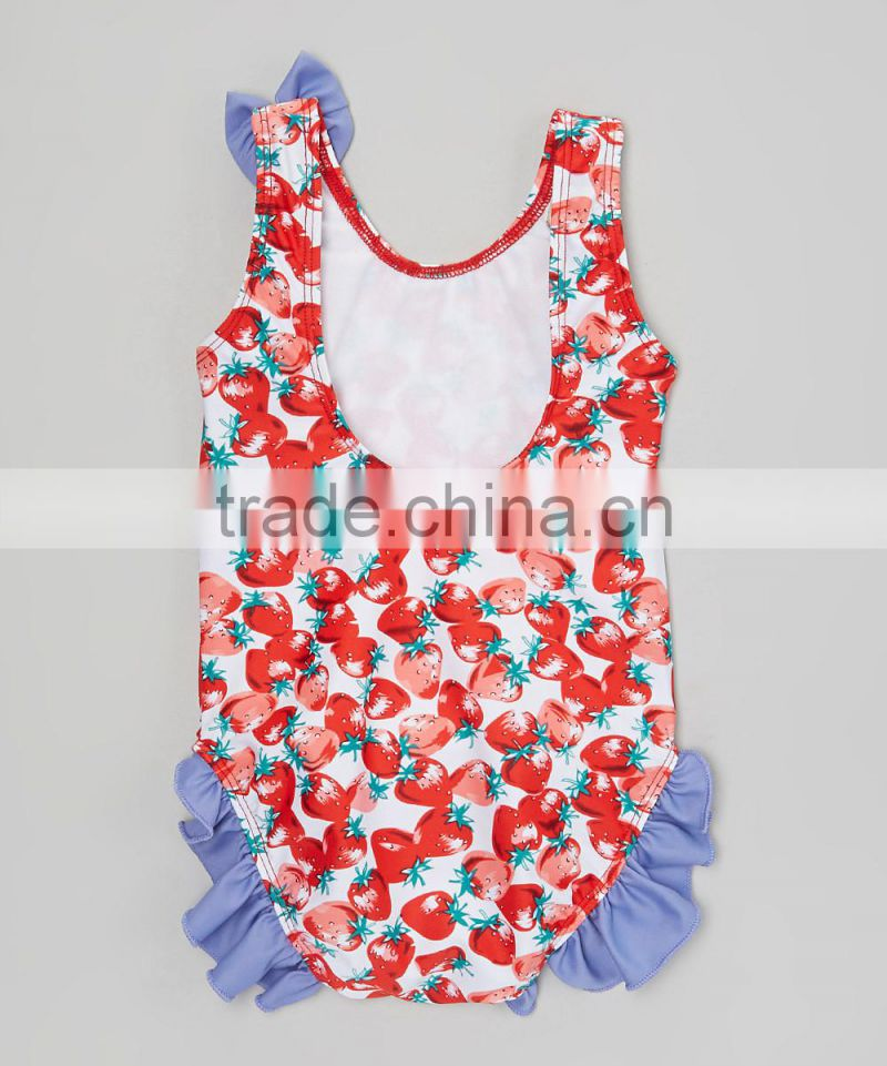 New Summer Girl Swimwear With Red Strawberry Ruffle One-Piece Girl Beachwear Kids Clothes G-NP-S905-365