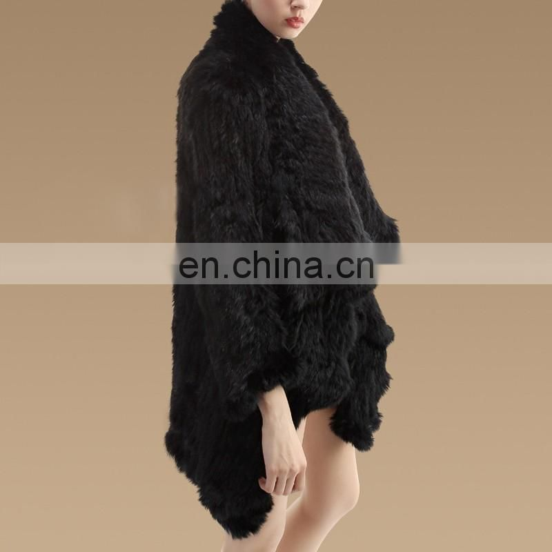 Hugely popular knitted real rabbit fur garment women fur coat