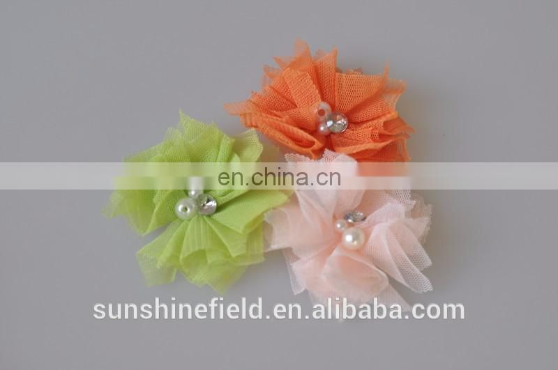 Mini Tulle Mesh Flowers With Rhinestone Pearl Center Poof Flowers headbands Accessories