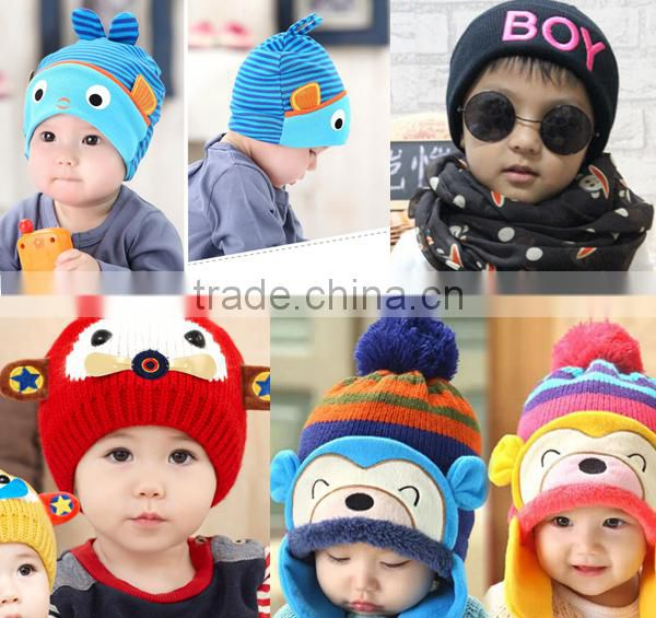 Crochet Kids hand knit hat boy patterns Winter Beanie Hats High quality Handmade baby knitted hat