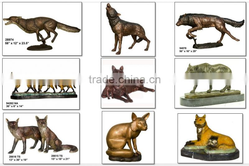 tabletop decoration small fox figurines bronze for sale NTBA-W013Y