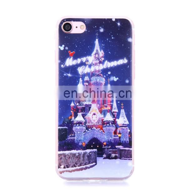 2017 Christmas pattern soft TPU case for iPhone 7 ,Merry Christmas gift phone case for iPhone 7