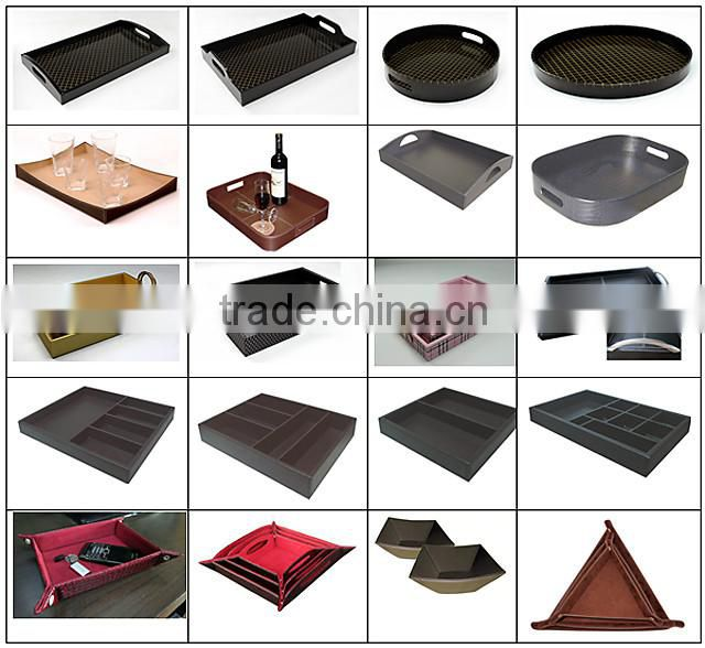 leather tray, leather cover wooden tray,PU Leather Tray