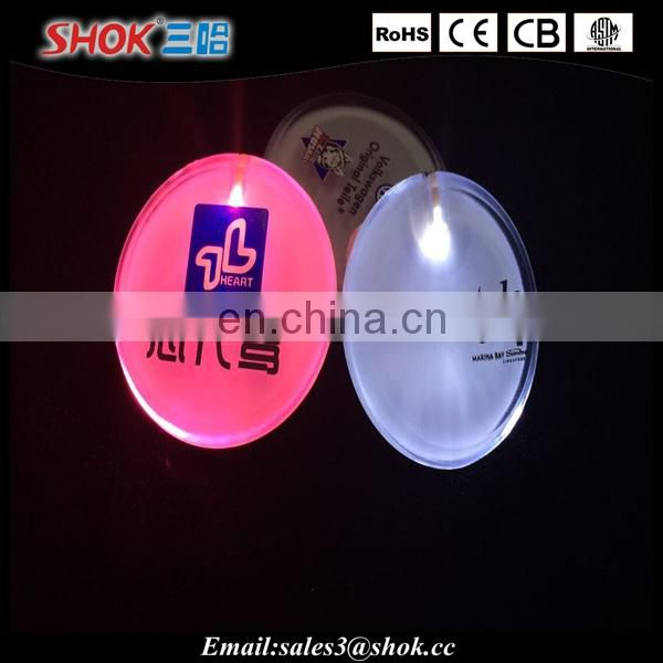 Made In China Garment Accessories Led Flashing Badge / Pin Badge / Button Badge