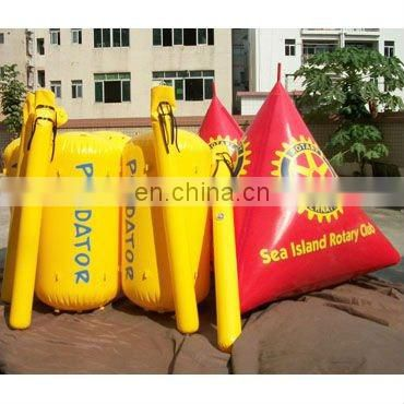 inflatable water buoy in pyramid shape for water sports event