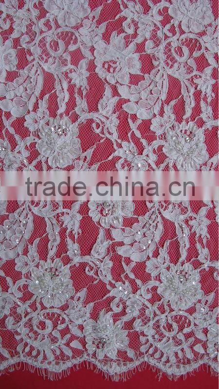 Re-embroidery French Lace Border Lace White