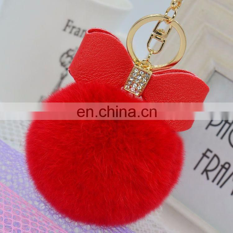 China Supplier Real Rex Rabbit Fur Ball Fashion Bowknot pompom Keychain