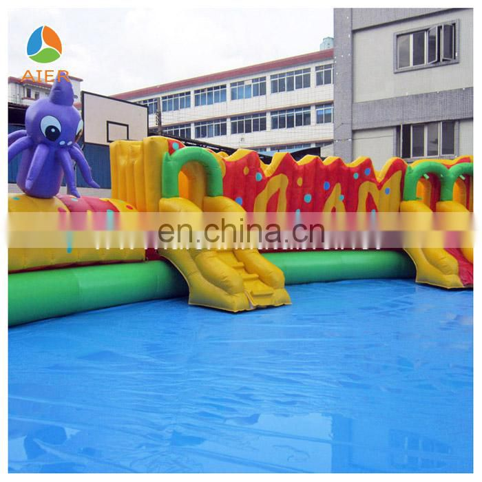 2014 New and Giant Inflatable round Pool with slide,Inflatable swimming pool for sale