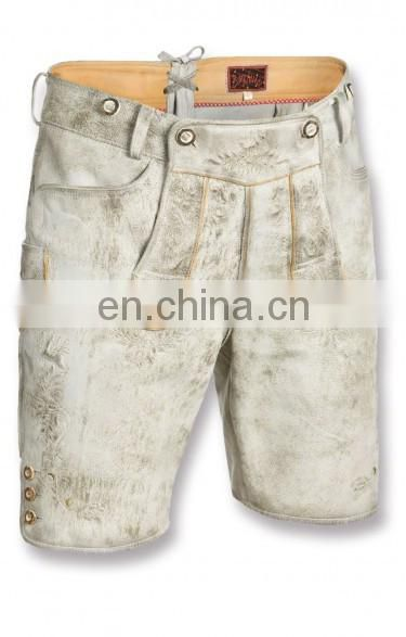 German-Bavarian-Oktoberfest-Trachten-Short-Length-Lederhosen-Men's Leather Shorts antique silver