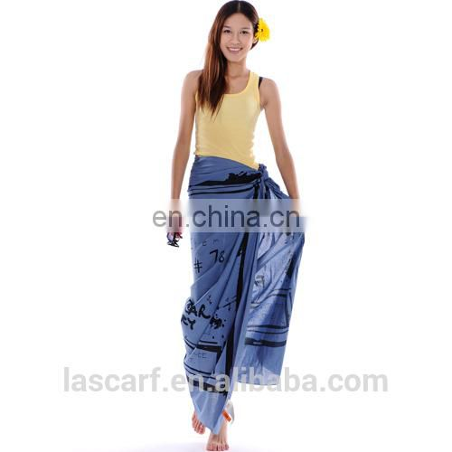 100%cotton material printed beach sarong pareo