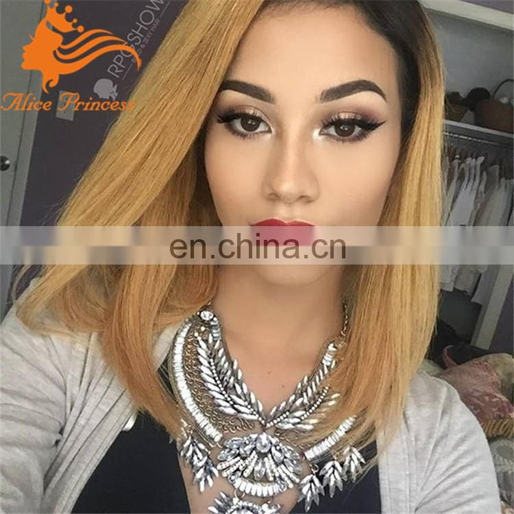 Human Hair Short Bob Wig Ombre Full Lace Wig Two Tone Color Lace Front Human Hair Wig Short Straight 1BT27 For Black Women