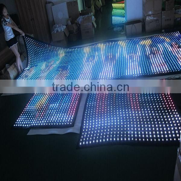 2015 hot sell high brightness led grid curtain / led mesh crtain /curtain led dmx