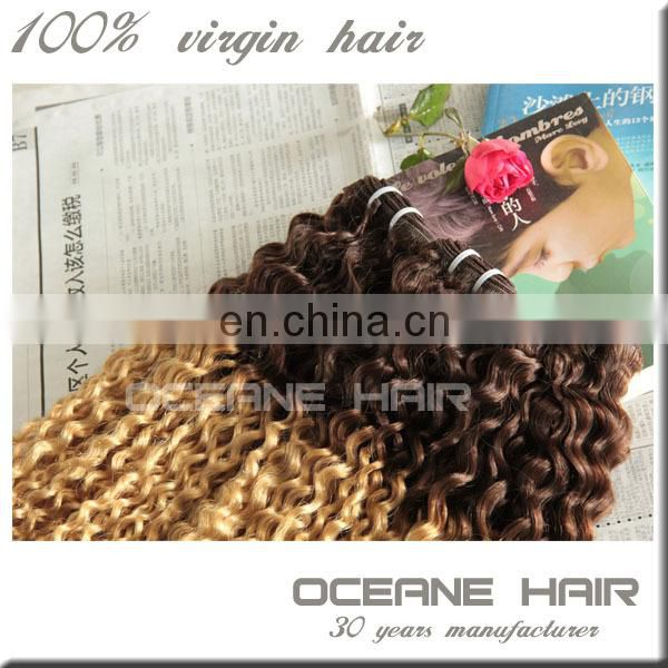 China wholesale full cuticle high quality natural curly hair two tone hair extension