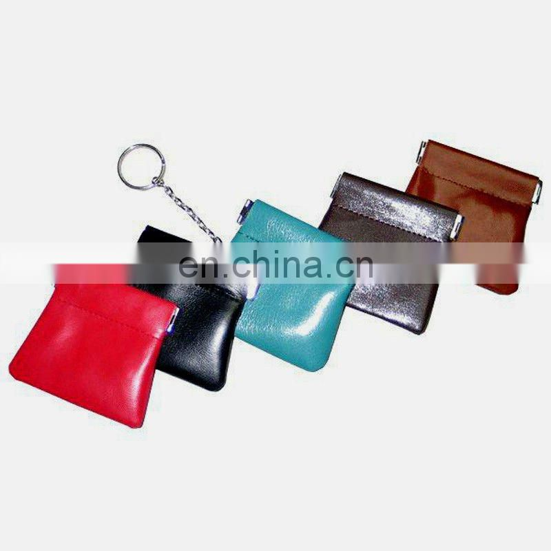 Manufacture Best Selling Leather Coin Case With Zipper Ring