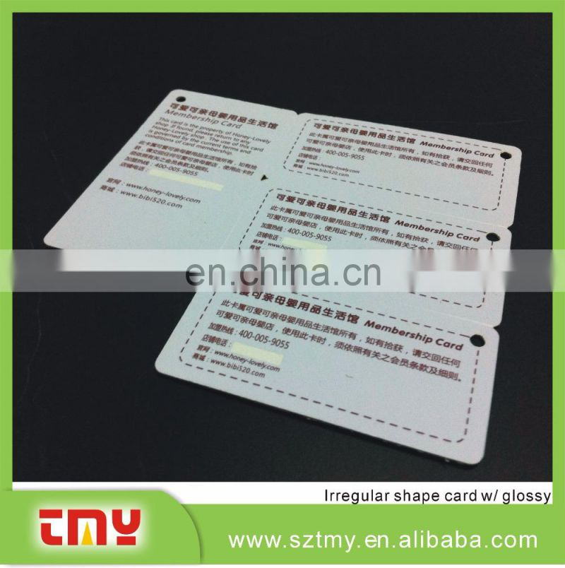 Non-standard size PVC plastic gift card with slot hole
