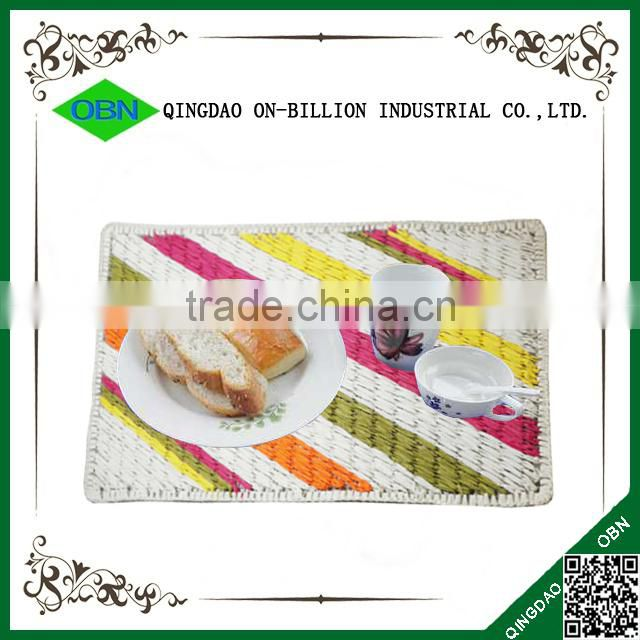 Rectangular colorful paper rope handmade dining table mat