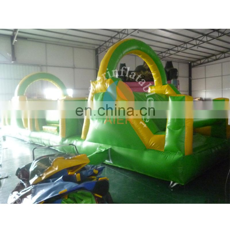 Green Inflatable Obstacle course for elder kids cheap inflatable obstacles for sale