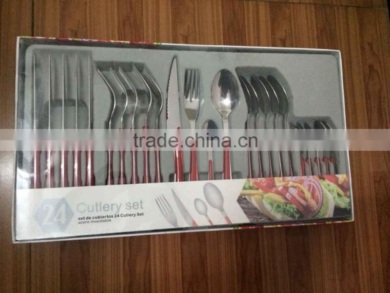 Stainless knife and fork spoon,24pcs knife and fork spoon set,Stainless steel cutlery set,Double color handle knife and fork spo