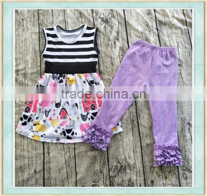 2017 stylish girl outfit clothing dancing girl pattern print top and bule ruffle pant baby wear clothes