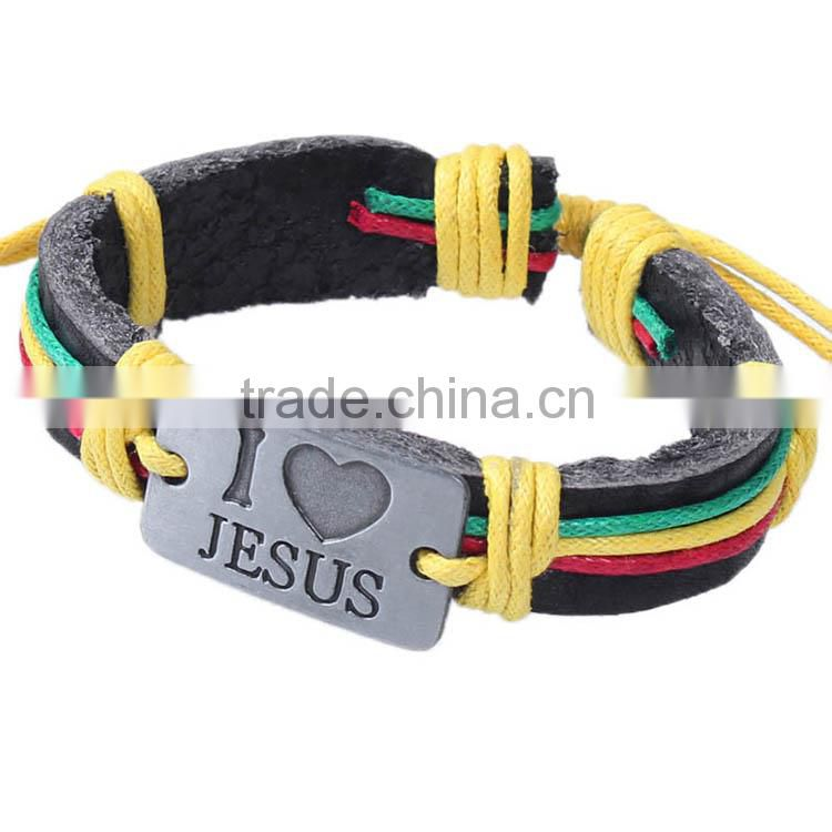 <<<2015 fashion jewelry new products jesus leather bracelet loves alloy braided leather hemp rope bracelets lovers accessories/ Image