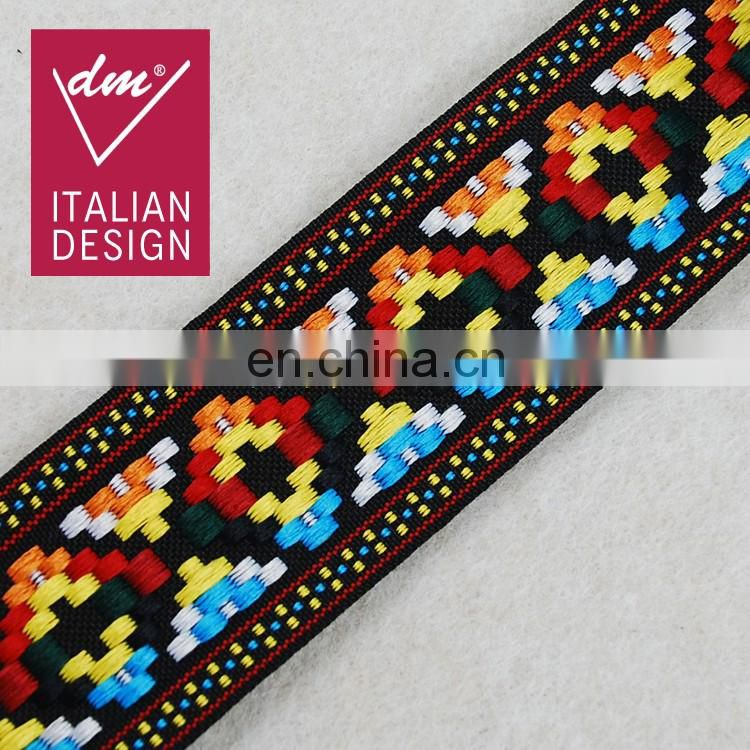 Italy HOT design fashion multico Jacquard fabric trim tape