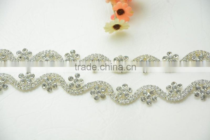Shining Sliver Plated Crystal Diamante Trimming