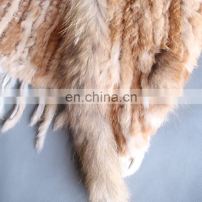 Newest design rabbit/raccoon fur knitted vest/gilet