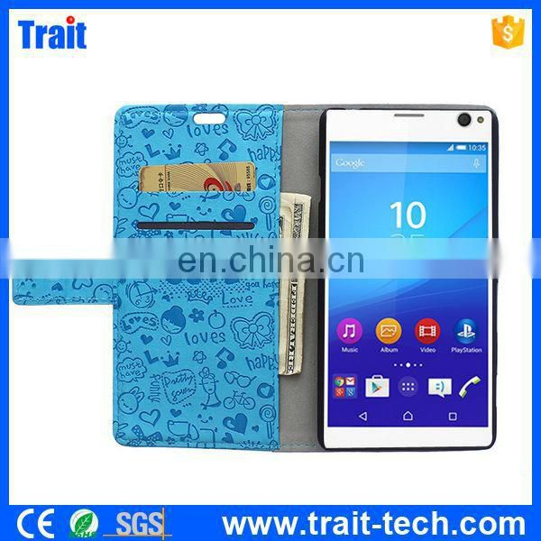 Hot New Products for 2015 Leather Case for Sony Xperia C4,leather case mobile