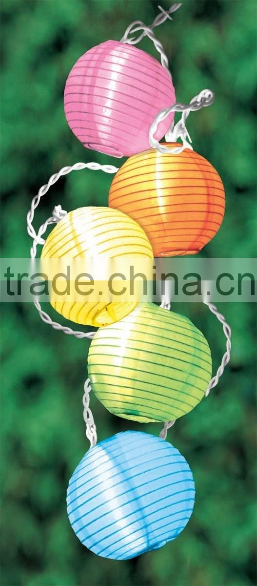 Solar Lights Garden, Outdoor String Lights with Fabric Lantern Ball Christmas Globle Lights for Path Party Decoration