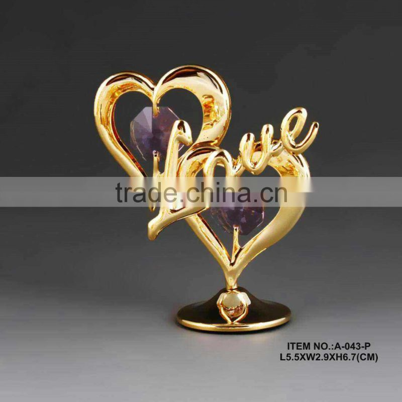 24k gold plated valentine heart for gifts