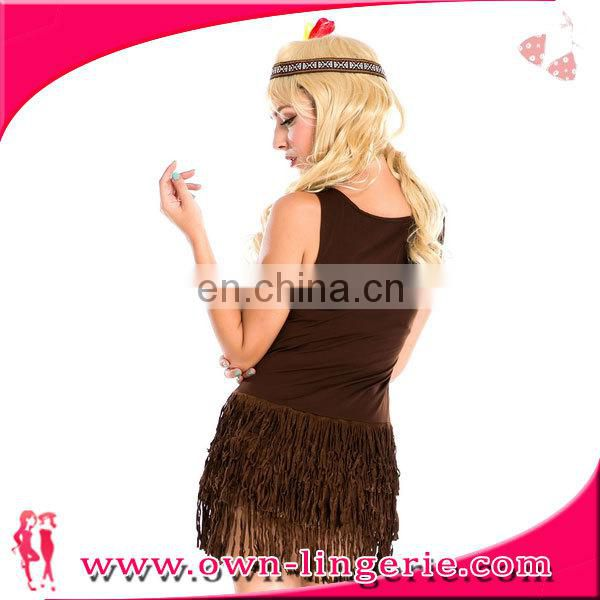 Brown Fringes Ladies Pocahontas Native American Indian Wild West Fancy Dress Party
