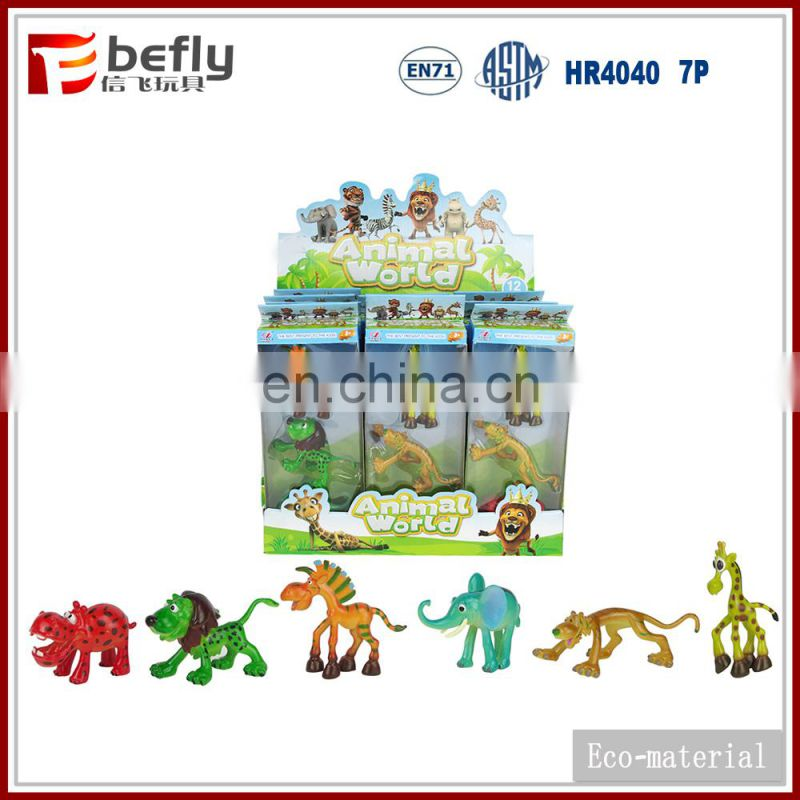 6 kinds mixed plastic cartoon wild animal model for new toys