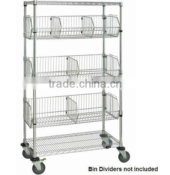 Chrome wire shelving cars with wire bins