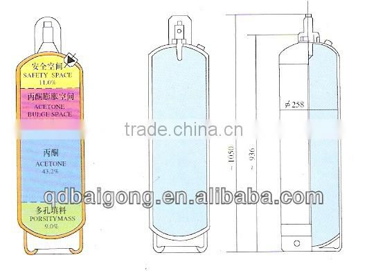 Welded Steel Acetylene Cylinder Filling High Purity