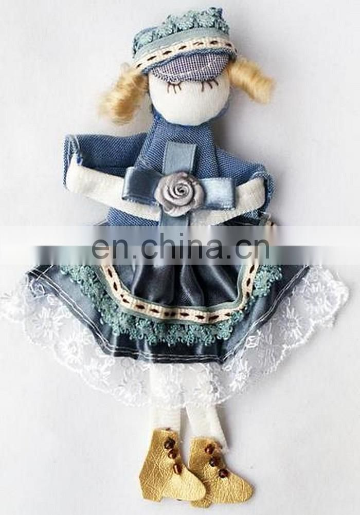 hotselling handmade cloth beautiful girl doll brooch for women trendy accessories