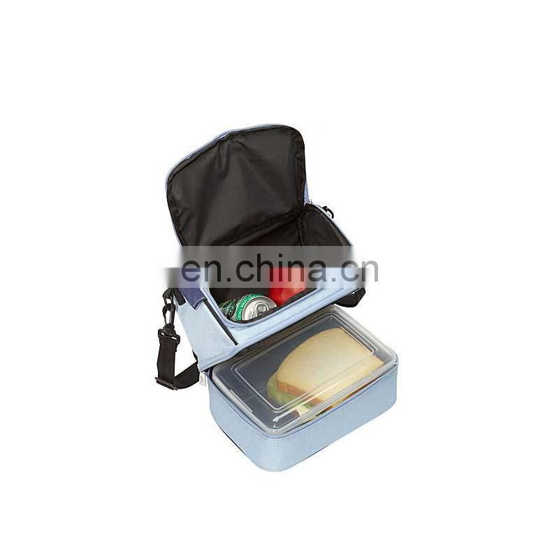 Easy carrier double-deck cooler bag for lunch food bag