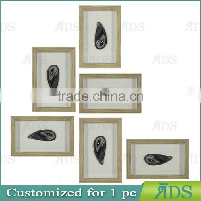 Shadow Box Wall Decor with Encasing Colorful Natural Agate Under Glass