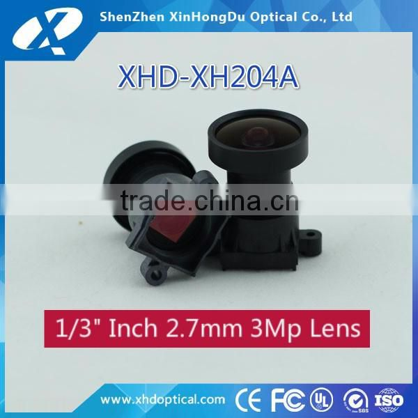 High quality super wide angle m12 1/3 inch 2.7mm automotive cctv lens for car reversing camera system