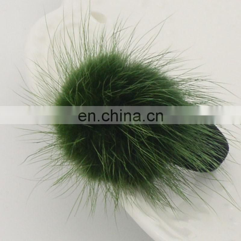 Cute small round mink fur ball hair accessory for kids girl decoration