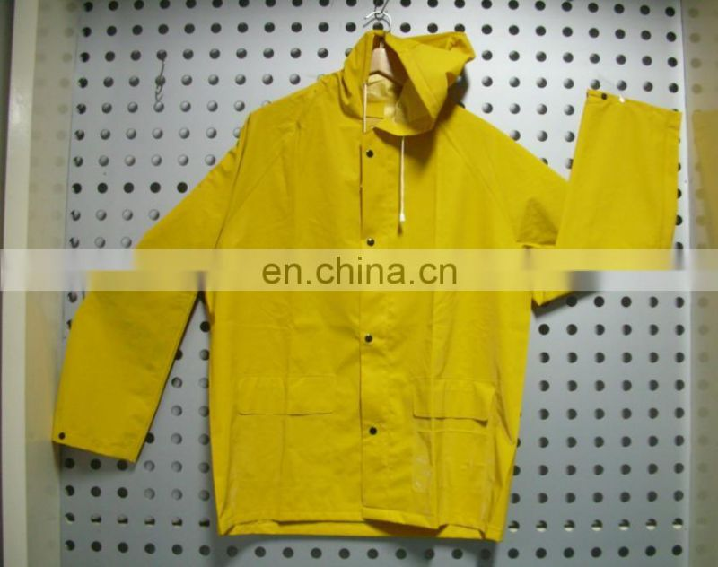 yellow High visibility parka workwear rain jacket in summer