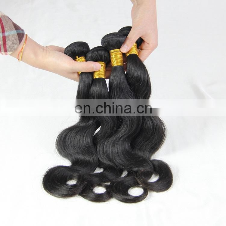 Factory price Malaysian virgin human 9A grade hair weaving in body wave style no chemical process high quality hair