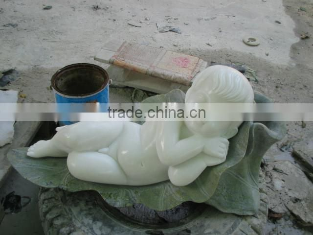 Hand carved small marble stone Chinese baby sculpture