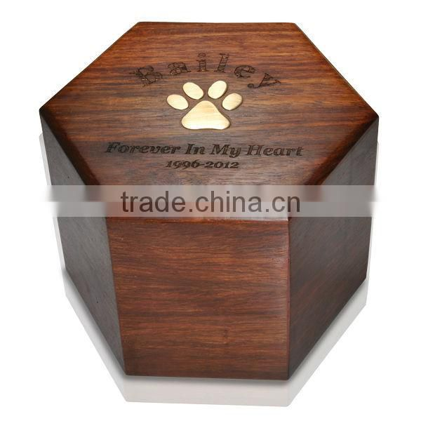 Elegant Pine wood pet funeral urn chinese funeral supply