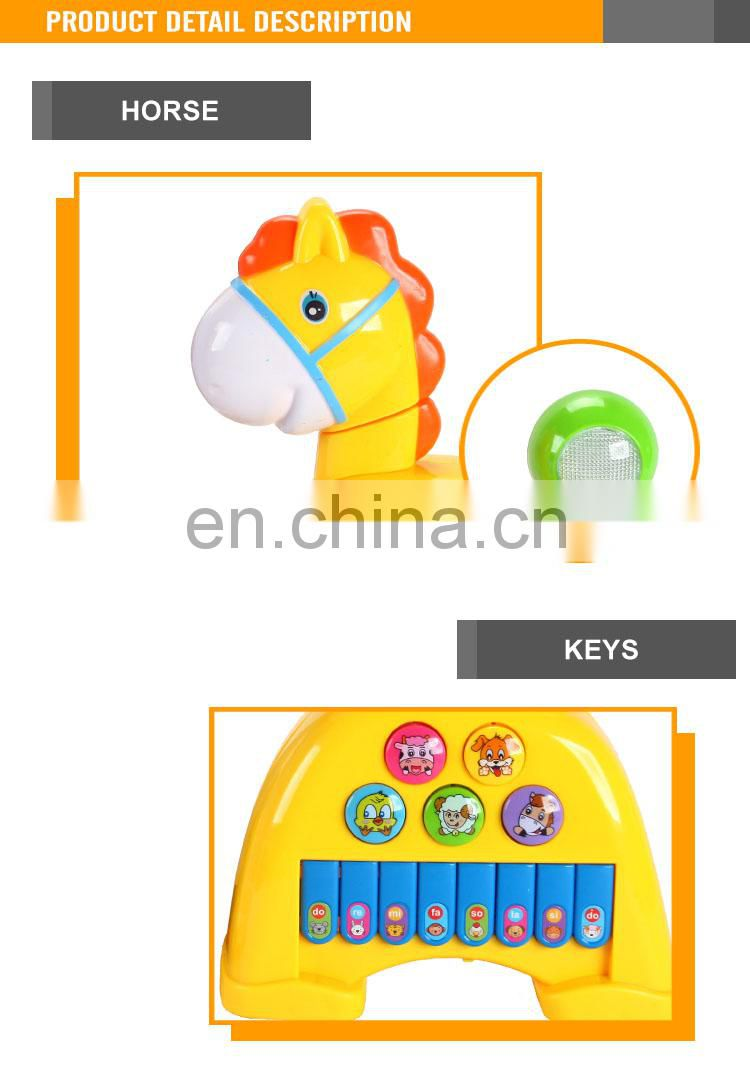 High Quality Plastic Yellow Horse Toy Cheap Musical Instruments for Baby