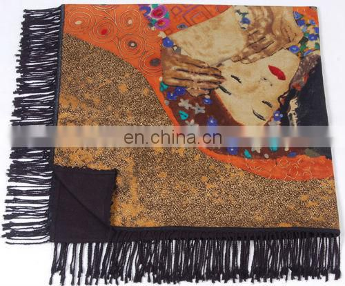 Fashion Gold Stamping Lady Winter Silk Shawl